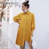 TWOTWINSTYLE Asymmetrical Shirt Dresses Women Lantern Long Sleeve Pleated Hem Dress Female Fashion Clothes 2018 Autumn New