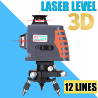 3D 12 Lines Laser Levels 360 Degree Rotation Measure Auto Leveling Horizontal Vertical Powerful Red Laser Beam 110 240V