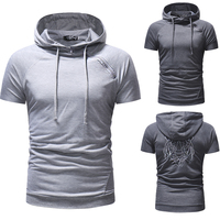 Summer wear men's slim sweater with short sleeves and European and American hoodies tide social tight T shirt