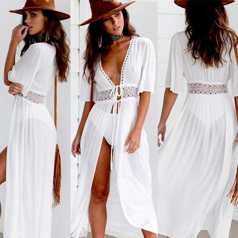 Hirigin New Women White Sheer Hollow Out V-Neck Bikini Cover Up Long Kaftan Dress Summer Boho Maxi Dress Chiffon Crochet