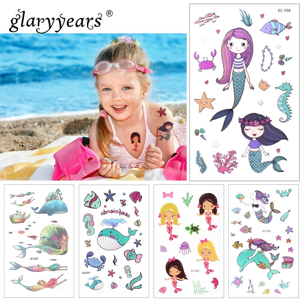 Glaryyears 1 Sheet Temporary Tattoo Sticker Fashion Fake Tatoo Mermaid Flash Tatto Waterproof Small Body Art Children 21 Designs