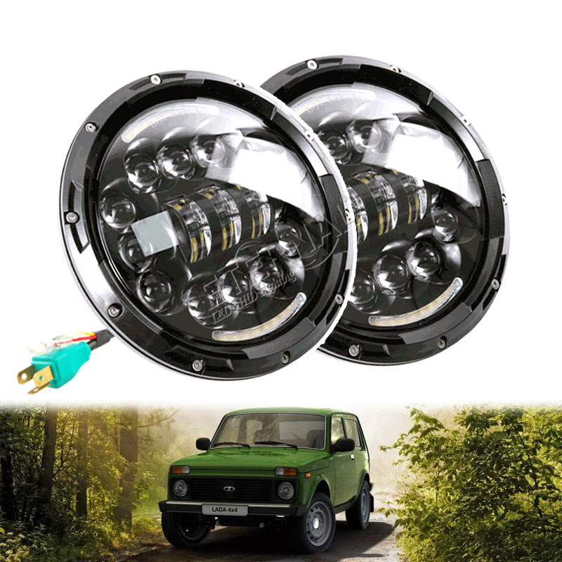 90W off road H4 LED headlamp 7inch round DC10-30V headlight with DRL amber signal turn for 4x4 Lada niva Wrangler JK Hummer