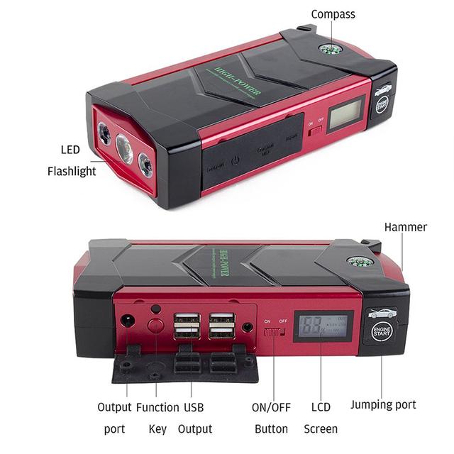 HAMBAR 68000mWh Car Battery Jump Starter Smart Emergency Starting Device 600A Peak Power Bank Car Charger Car Booster EU Plug