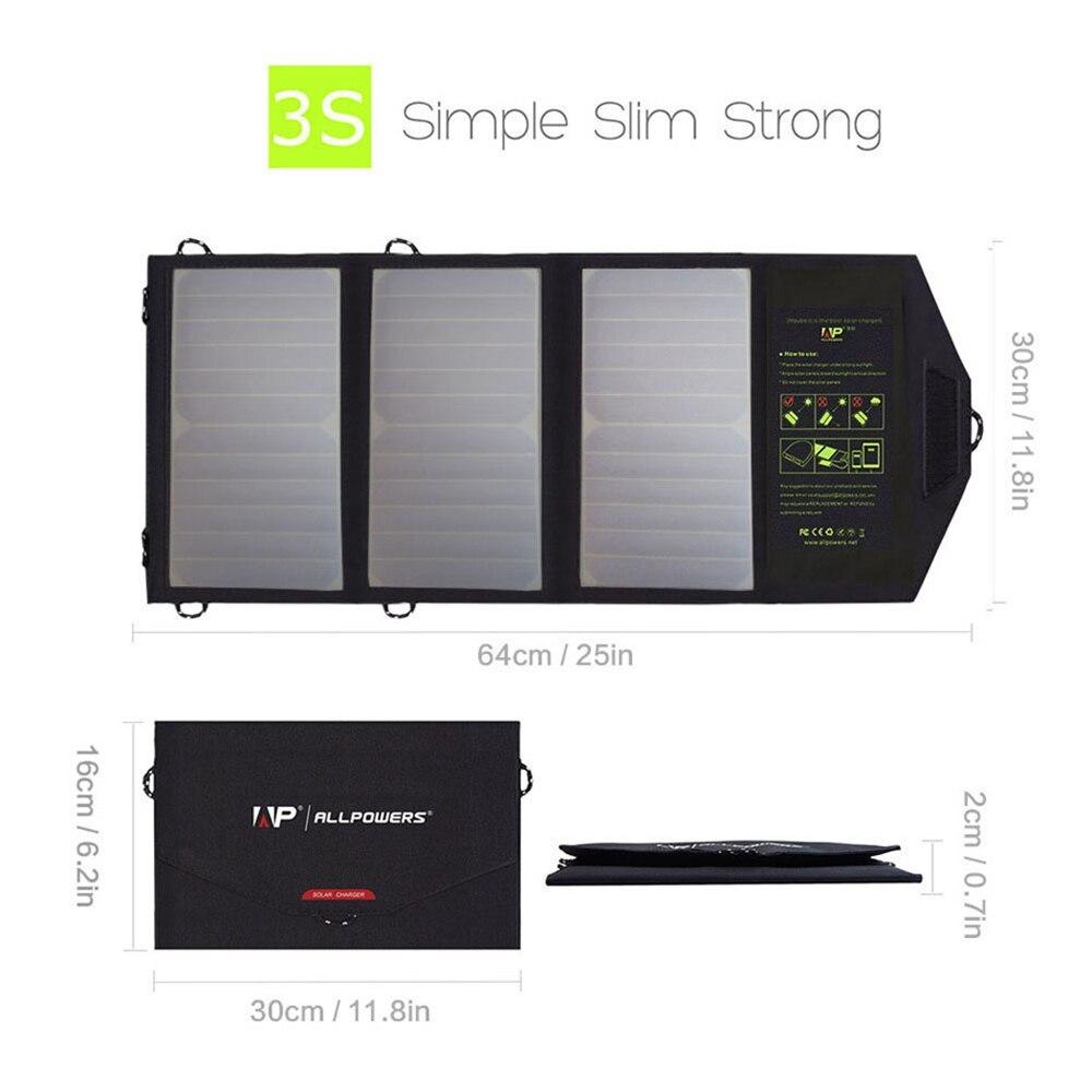 ALLPOWERS 5 V 21 W chargeur solaire étanche pliable USB panneau solaire batterie externe chargeur batterie pour Smartphone Camping en plein air