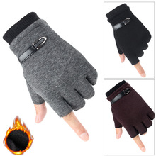 IOLPR winter gloves men velvet half finger writing computer typing mitt plus warm running