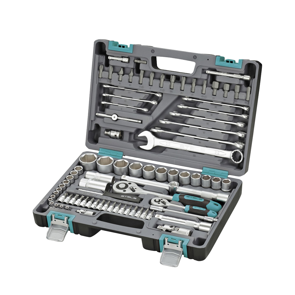Hand Tool Sets STELS 1/2, 1/4, CrV, plastic case, 82 items 14105 запчасть stels chao yang 28 x 1 75