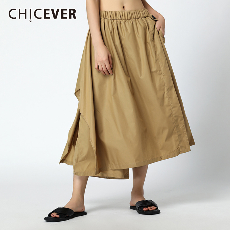 CHICEVER Irregular Trousers For Women Wide Leg Pant Loose Oversize Elastic High Waist Summer Ankle Length Women Fashion 2018
