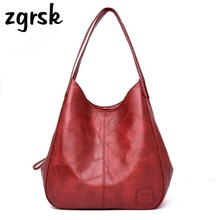 Vintage Womens PU Leather Handbags High Quality Female Hobos Single Shoulder Bags Solid Multi-pocket Ladies Totes Sac a Main