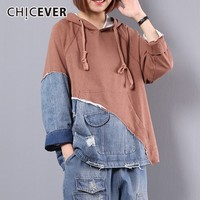 CHICEVER Patchwork Denim Sweatshirts For Women's Hoodies Long Sleeve Loose Plus Sizes Tops Female Autumn Fashion Causal Clothing
