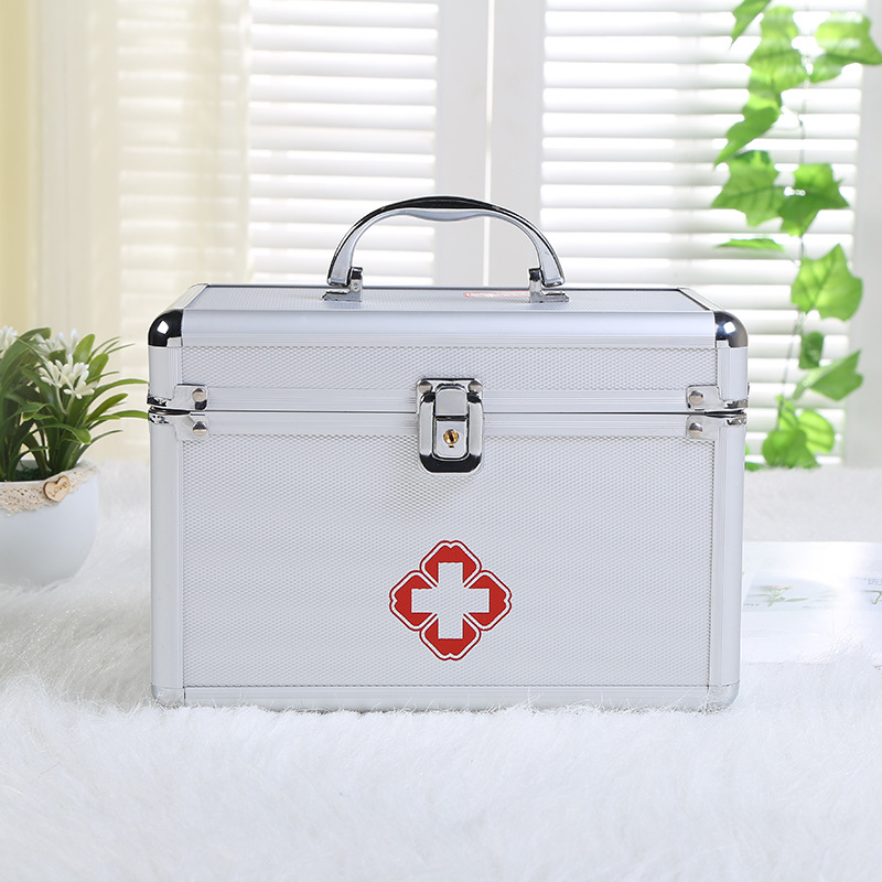 Aluminum Alloy Double-layer Medicine Box Portable Camping First Aid Kit Travel Survival Emergency Medical Storage Organizer