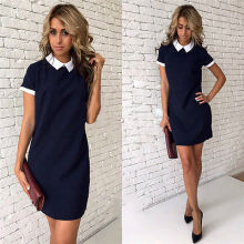 Summer Dresses HOT Women Short Sleeve Stand Collar Preppy Style Mini Dress Casual Loose Slim