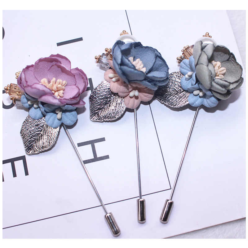 i-Remiel Cloth Flower Luxurious Decoration Long Needle Brooch Badge Lapel Upscale Pin Collar Shirt For Women Scarves Accessories