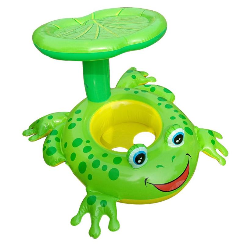 Cartoon Frog Inflatable Pool Toys Sunshade Seat Baby Kids Swimming Ring Swimming Pool Funny Toy