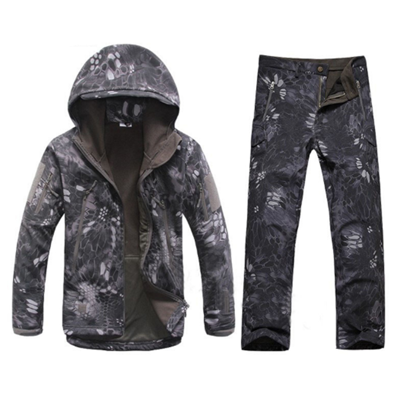 Outdoor Sports Waterproof Warm Camo Suits Men Winter Cycling Hunting Camping Climbing Fleece Windproof Thermal Jackets