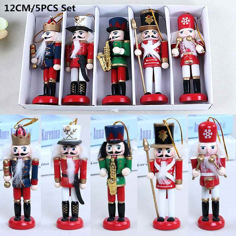 5Pcs 12CM Wooden Nutcracker Doll Soldier Vintage Handcraft Walnut Puppet Christmas Gifts Ornaments Home Decoration