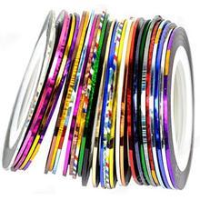 10 цветов 20 м/рулонов модные наклейки для УФ-гель для дизайна ногтей советы полоскание ленты линии наклейки для ногтей DIY украшения маникюрные инструменты