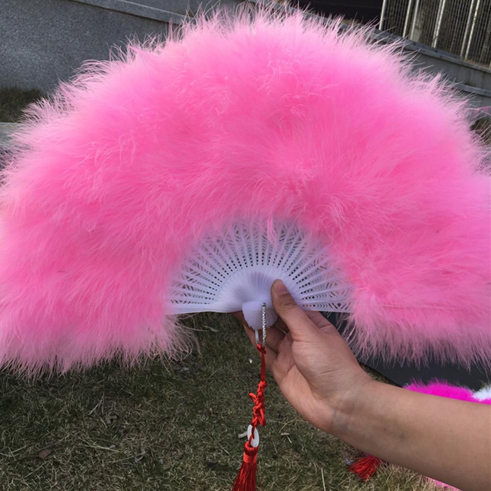 Natural Feather Hand Fan Festival Performance Dance Folding Fan Home Decoration