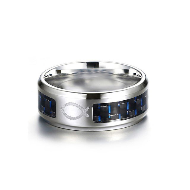 Vnox Drop Shipping 8MM Stainless Steel Jesus Christian Fish Rings for Men Women Religious Faith Ring with Blue Carbon Fiber