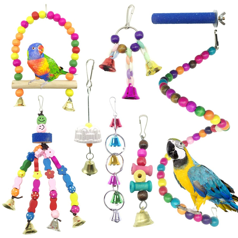 Bird Parrot Toys For Cages,colorful Chewing Hanging Swing Pet Bird Toy With Bells,wooden Ladder Hammock,rope Perch,birdcage St Bird Toys Home & Garden