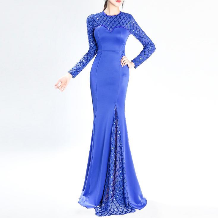 Lusso Svksbevs Paillettes Eleganti Di Nero Lungo 2019 Dress Lunga Manica  Partito blu Abiti Sirena Maxi Cristallo bordeaux Indietro Della ... 0af6ba38f40