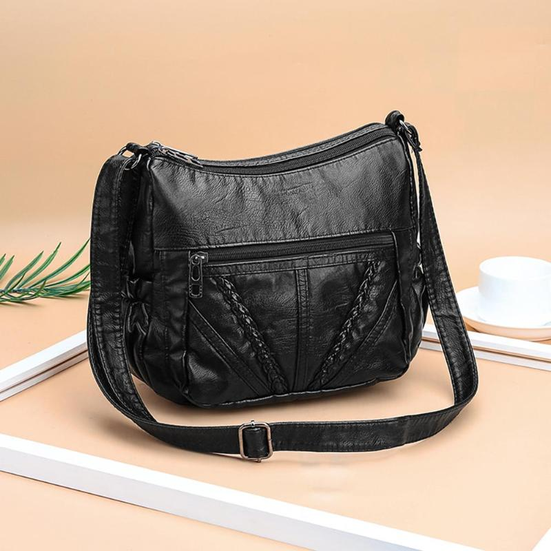 Black Small Women Messenger Bags Very Soft Washed PU Leather Bag Female Purses And Handbag