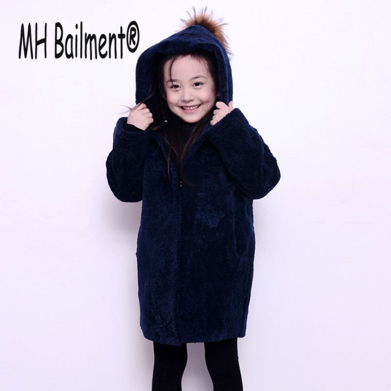 Children Real Sheepskin Fur Coats Autumn Winter Baby Girls Warm Thick Long Coat Full Sleeve Kids Outerwear Blue Clothing sheepskin coat ad milano sheepskin coat