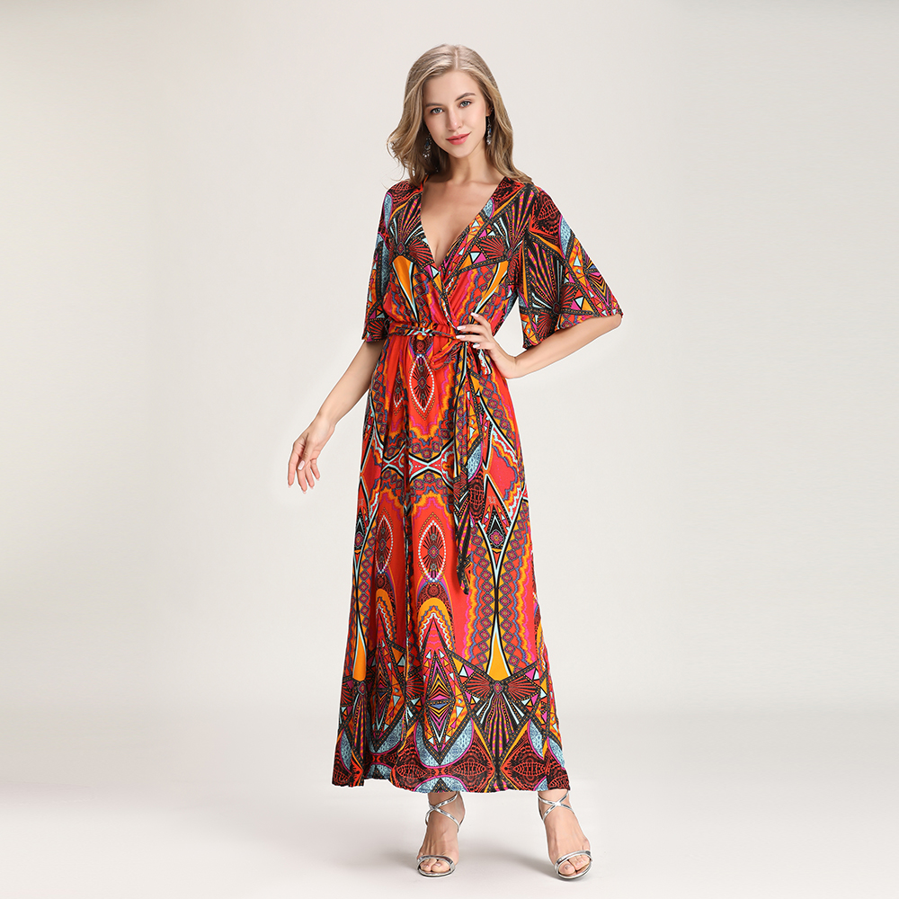 2019 Summer new European and American style V collar sexy beach gown European station print dress female fork skirt