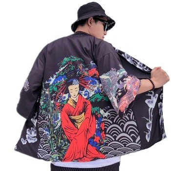 Japanese Style Men Geisha Fuji Mountain Print Loose Cardigan Blouse Summer Harajuku Kimono Shirt Plus Size Oversized Beach Tops image
