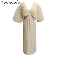 TVVOVVIN maxi summer satin Dress Batwing Sleeve V neck Solid Sexy Vintage Long Dresses Women 2019 New robe femme Casual AS481