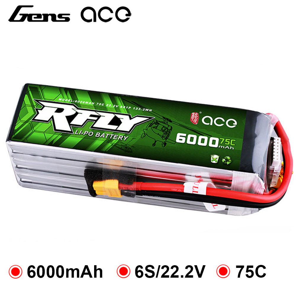 Gens ace RFly <font><b>6000mAh</b></font> 22.2V 75C Max 150C <font><b>Lipo</b></font> <font><b>6S</b></font> Battery with XT60 Plug for Traxxas Boat Helicopter Fixed Wing Drone Car image