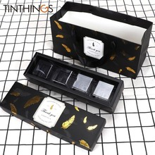 20 PCS Wedding Box For Candy Chocolate Sweet Gift Box Packaging Black Bronzing Feather Birthday Party Favor Paper Bag Cake Box