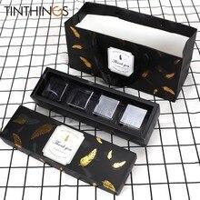 Caja de regalo para dulces de Chocolate, caja de regalo de color negro con pluma de bronce, bolsa de papel para recuerdo de fiesta de cumpleaños, caja para Tartas, 20 Uds.