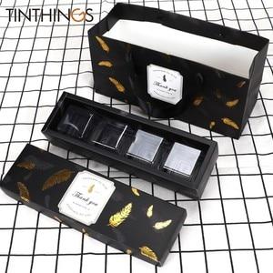 Image 1 - Coffret en papier pour bonbons au chocolat, coffret à offrir, 20 pièces, emballage à gâteau avec plumes de bronzage noires, sac en papier pour attentions pour fête danniversaire