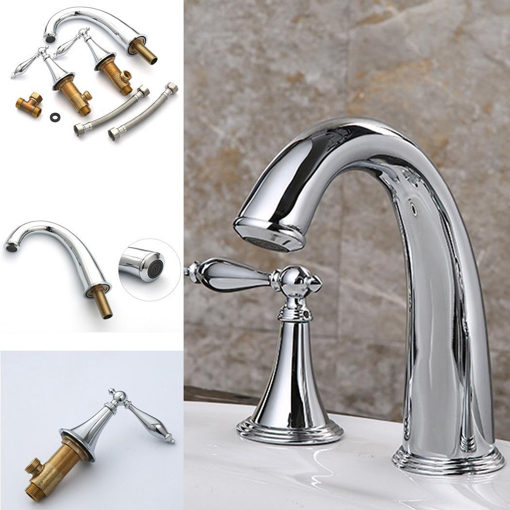 Durable Water Faucet Double Handle Lever Faucet 0-100C Casual for Silver Bathroom 36mm 16mm Kitchen 1.048KgDurable Water Faucet Double Handle Lever Faucet 0-100C Casual for Silver Bathroom 36mm 16mm Kitchen 1.048Kg