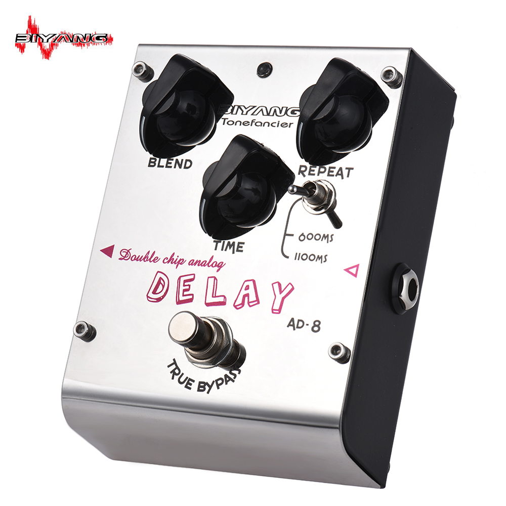 BIYANG AD 8 Tonefacier Series Double Chip Analog Delay Guitar Effect Pedal True Bypass Full Metal