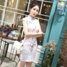 5 Color Jacquard Cotton Short Qipao Cheongsam Dresses Chinese Style Vintage Plain Embroidered Flower Plum Blossom Pao 3XL