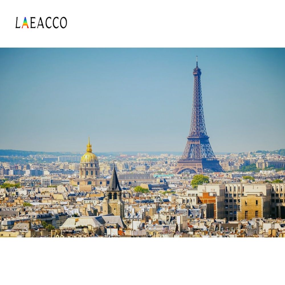 Laeacco City Cloudy Eiffel Tower Paris Park Photography Backgrounds Customzied Photographic Backdrops For Photo Studio