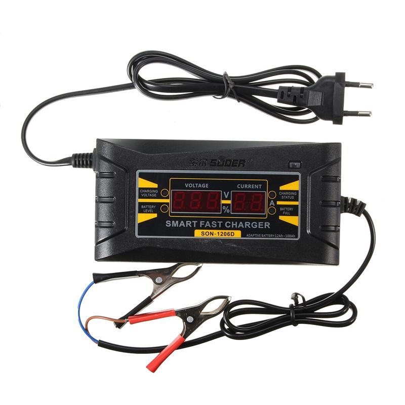 LED Intelligent Display Charger 6A 12V Car Battery Charger for Lead Acid Batteries (US Plug)