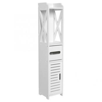 Ƶ�室キャビネット 80 × 15.5 × 15.5 Â�ンチメートル浴室トイレ家具キャビネットホワイトウッドプラスチックモダンフロアランプボード食器棚ティッシュ収納ラック