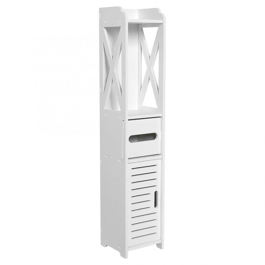 Armário do banheiro 80x15.5x15.5cm banheiro móveis de banheiro armário de madeira branca-placa de plástico prateleira de armazenamento de tecido rack