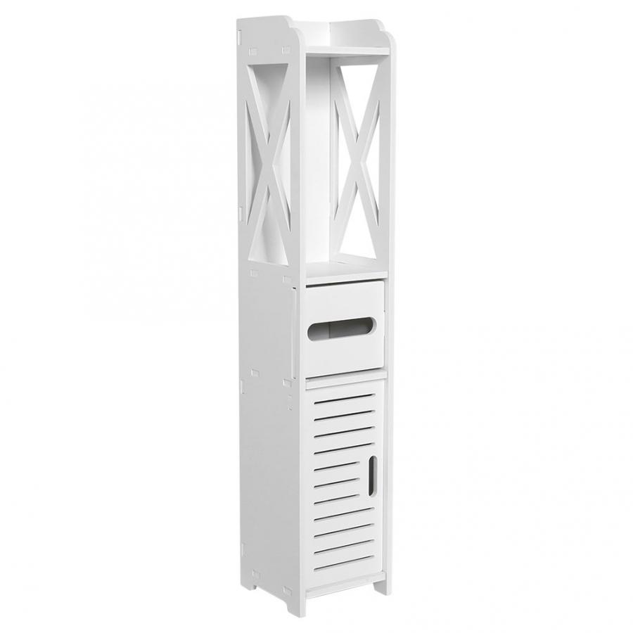 Lemari Kamar Mandi 80X15.5X15.5CM Kamar Mandi Toilet Perabot Kabinet Kayu Putih-Papan Plastik Lemari Rak Penyimpanan Jaringan Rak