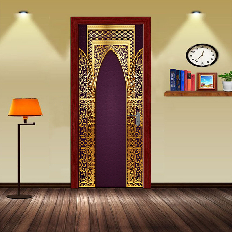Custom Islamic patterns door decal Large Size Window vinyl sticker Allah self-adhesive wallpaper Home Decoration