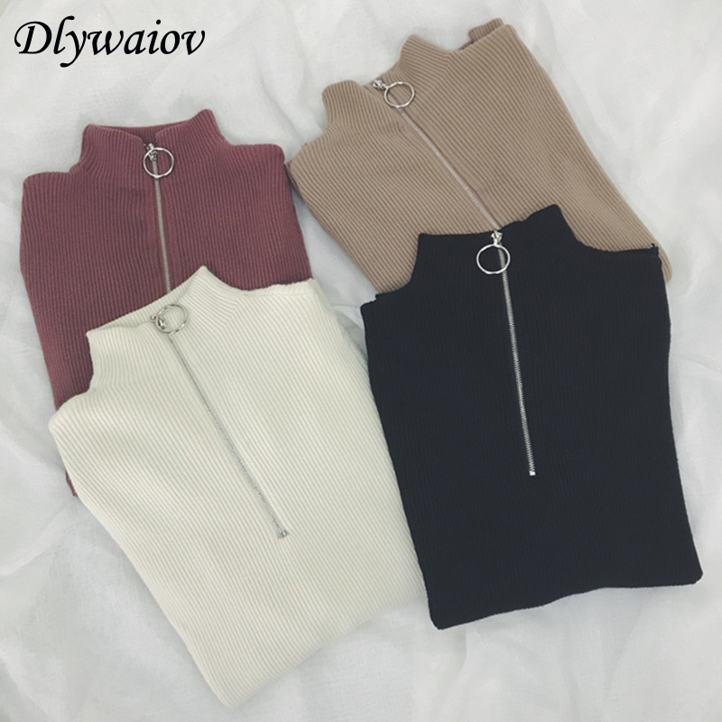 Zipper Half Turtleneck Pullovers Women Sweater Long Sleeve Skinny Elastic Knitted Femme Solid Spring Jumper High Quality Tops