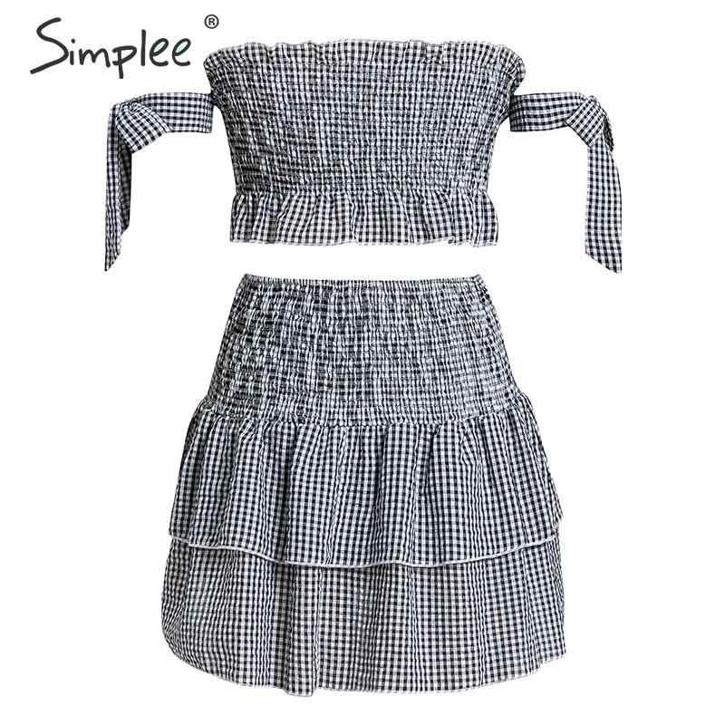 Simplee Co-ordinates клетчатое женское мини платье сексуальное от плеча собранное в сборки женское короткое платье с высокой талией женское летнее платье 2019