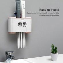 קיר הר משחת שיניים מסחטת אוטומטי משחת שיניים Dispenser מברשת שיניים מחזיק אביזרי אמבטיה אחסון מתלה עם 4 כוסות