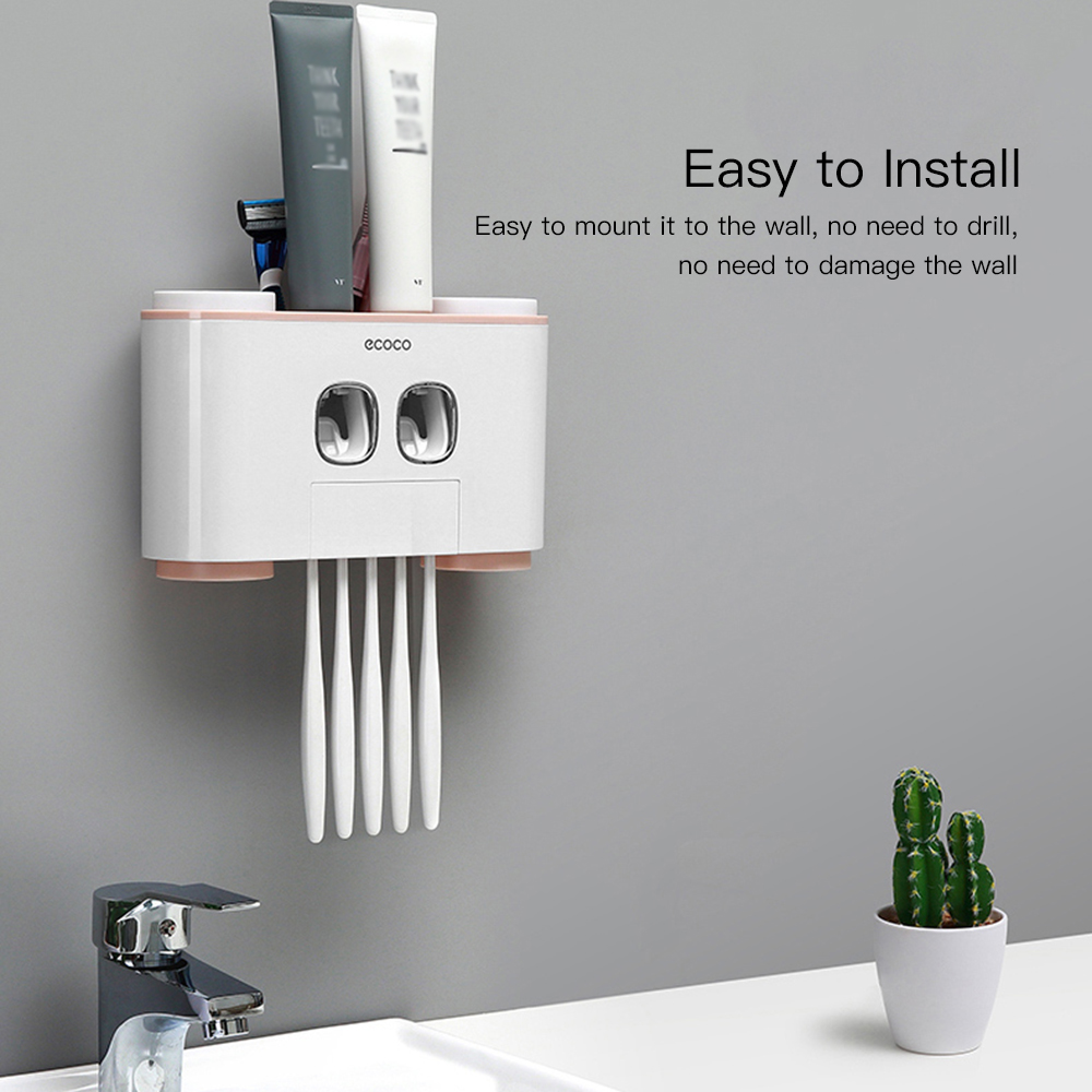 Image 2 - Wall Mount Toothpaste Squeezer Automatic Toothpaste Dispenser Toothbrush Holder Bathroom Accessories Storage Rack with 4 Cups-in Toothbrush & Toothpaste Holders from Home & Garden