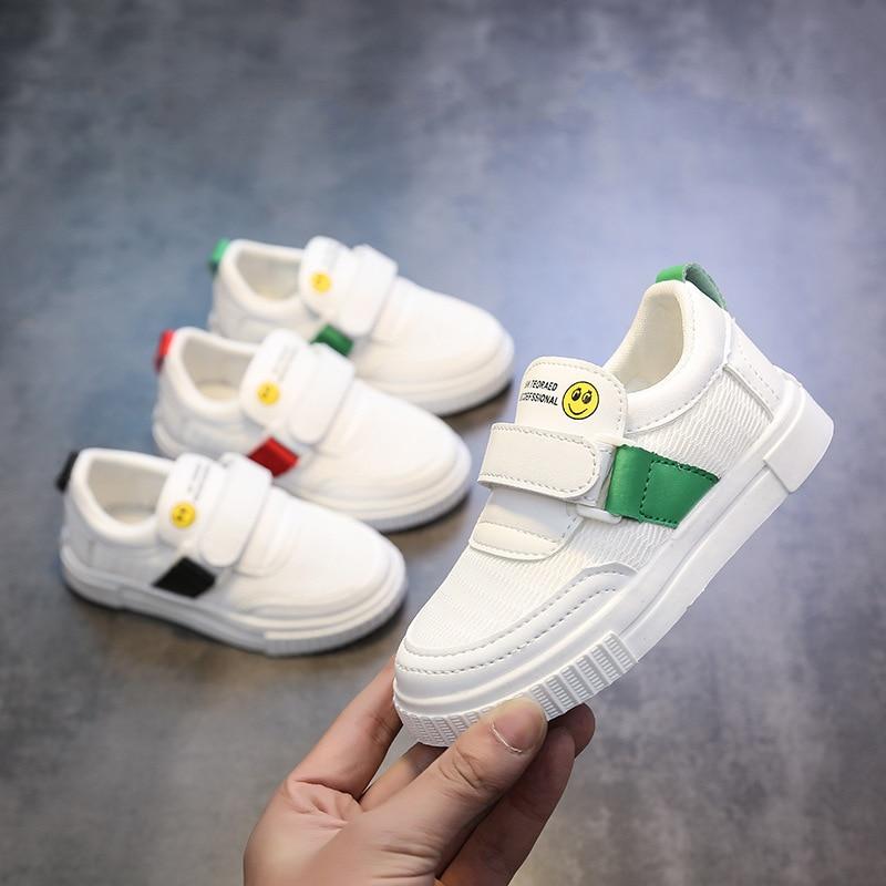 Begeistert 2019 Frühling Neue Mode Kinder Kleine Weiße Schuhe Kinder Skateboard Schuhe Junge Mädchen Weichen Boden Lächeln Muster Schuh Starke Verpackung