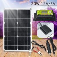 Newest 20W 12V/5V Solar Panel USB Charger For Phone Lighting RV Car Boat Voiture Bateau +12/24V 10A dual USB Solar Controller