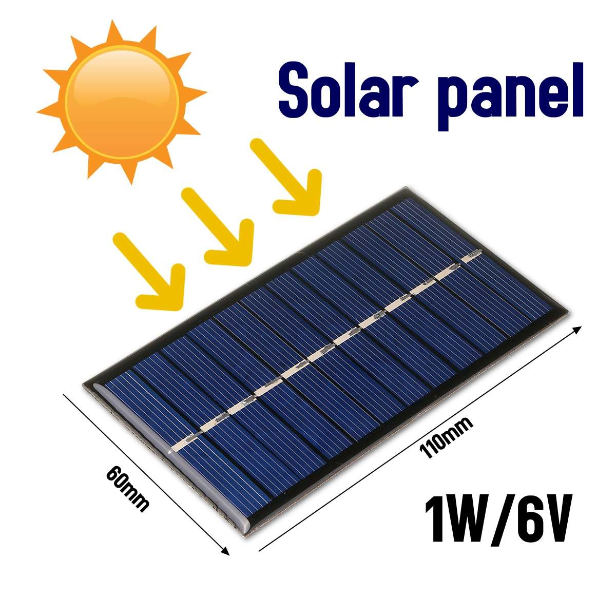 LEORY <font><b>6V</b></font> <font><b>1W</b></font> DIY <font><b>Solar</b></font> <font><b>Panel</b></font> 60*110mm Polycrystalline Portable Mini Module <font><b>Panel</b></font> System Epoxy Board for Learning image