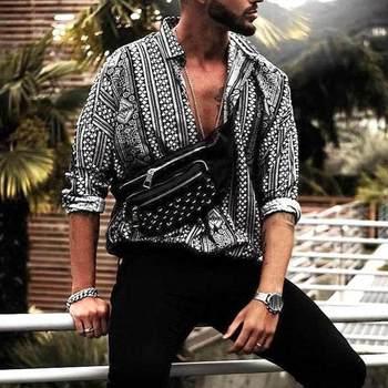 Camisa Casual Incerun Hombres Estampado Manga Larga Estilo